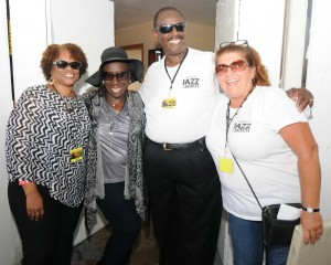Pat Prescott (94.7 The WAVE), Jean Braxton (Permission to Talk), Willie Payne (owner, Payne Pest Management) & Kelly Cole (KPRi Lites-Out Jazz radio show host) at Lites-Out Jazz at the Beach (photo by David Hopley)