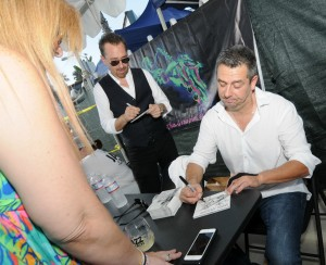 Brian Simpson & Marc Antoine sign autographs for fans at Lites-Out Jazz at the Beach (photo by David Hopley)