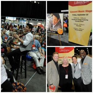 Dave Koz (above left); Wink Martindale, Melanie Maxwell, Dave Koz and Chris Gardner at AARP's 2011 Life@50+ convention in Los Angeles (photos by David Hopley)
