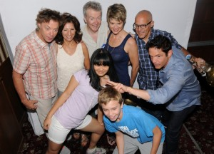 Peter White with Dave Koz, John Menzano, John Mahon, Charlotte White, Kyle Braun & friends in photo booth (photo by David Hopley)
