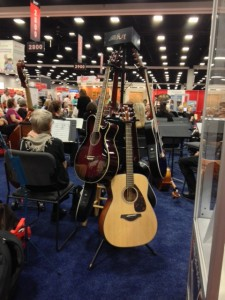 Guitar displays at NAMM booth during the AARP Ideas@50+ convention in San Diego