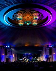 Tiffany chandeliers light up the Catalina Casino Ballroom during the JazzTrax Festival (photo by Pat Benter)