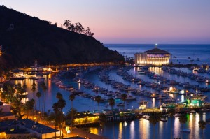 Avalon Harbor at dusk on Catalina Island