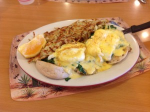 Crab benedict at Original Jack's Country Kitchen on Catalina Island