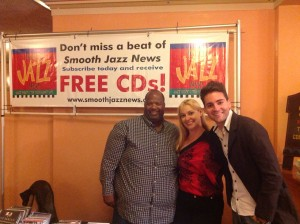 Craig Collier, Cristina (JazzTrax ticket manager) & Jonathan Fritzen at the Smooth Jazz News booth during the 2013 Catalina Island JazzTrax Festival