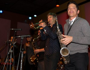 Rick Braun & Dave Koz sitting in with DW3 at the SJN anniversary brunch at Spaghettini (Photo by Pat Benter)