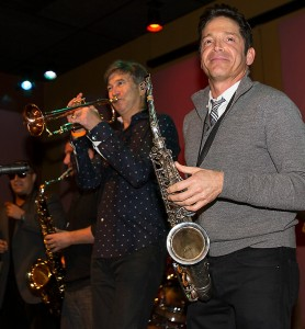 Dave Koz & Rick Braun sitting in with DW3 at Smooth Jazz News' 14th anniversary celebration at Spaghettini in 2014 (Photo by Pat Benter)
