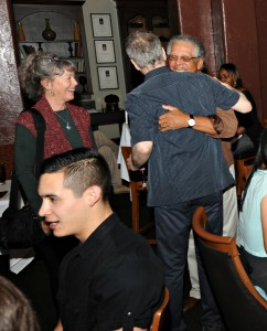 Peter  White greets Al Williams & his wife Sandy as they arrive at Spaghettini for the Smooth Jazz News 15th anniversary brunch celebration (Photo by David Hopley)