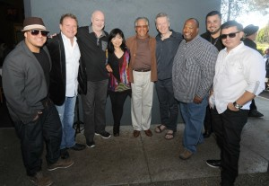 DamonReel, Euge Groove, Art Good, Keiko Matsui, Al Williams, Peter White, Craig Collier, Billy Mondragon & Eric Mondragon outside of Spaghettini Seal Beach (Photo by David Hopley)