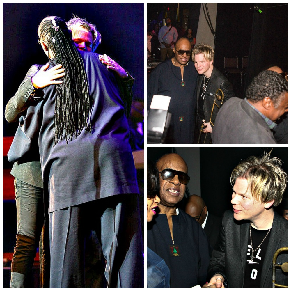 Brian Culbertson & Stevie Wonder backstage at the Long Beach Terrace Theater on Feb. 14, 2015 (Photo by Ambrosevents.com/Ellis Moore Photography)