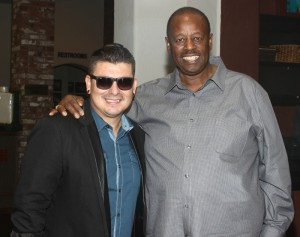 Eric Mondragon & Willie Payne (Payne Pest Management) celebrating Smooth Jazz News' 15th anniversary at Spaghettini  (Photo by Ambrosevents.com/wwww.ellismoore.com)