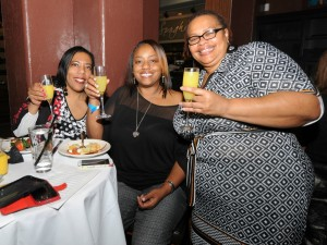 Evette Benjamin (right) with her friends Felicia & Yvette at the Smooth Jazz News anniversary celebration on Feb. 8, 2015 (Photo by David Hopley)