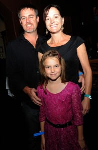 Gina Giblin (Smooth Jazz News graphic designer) with her husband Shane, and daughter Siena at Spaghettini on Feb. 8, 2015 (Photo by David Hopley)