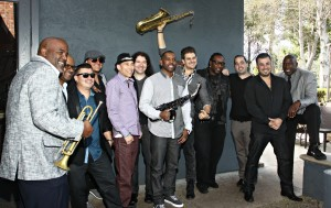 Joey Sommerville, Rayford Griffin, Eric Mondgragon, DamonReel, Gregg Karukas, Dirk K, Jarez, saxophonist and two other DW3 band members, Billy Mondragon & Sekou bunch outside of Spaghettini (Photo by Ambrosevents)