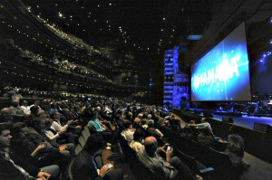 Packed theater at the Yamaha Dealer Concert in Anaheim, CA, during the 2015 NAMM Show (Photo by David Hopley)