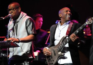 "Byron ""Mr. Talkbox"" Chambers & Nathan East jammin' at Yamaha's 2015 Dealer Concert in Anaheim, CA (Photo by David Hopley)"