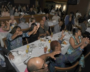 Brunch patrons partying in the lounge at Spaghettini during the Smooth Jazz News 15th Anniversary celebration on Jan. 25, 2015 (Photo by David Hopley)