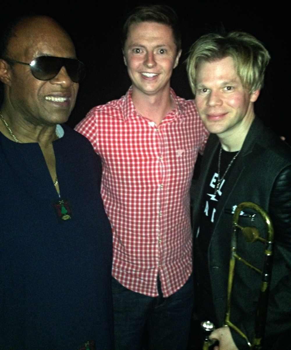 Stevie Wonder, Luke Pierce & Brian Culbertson backstage at the Terrace Theater in Long Beach, CA, on Valentine's Day 2015