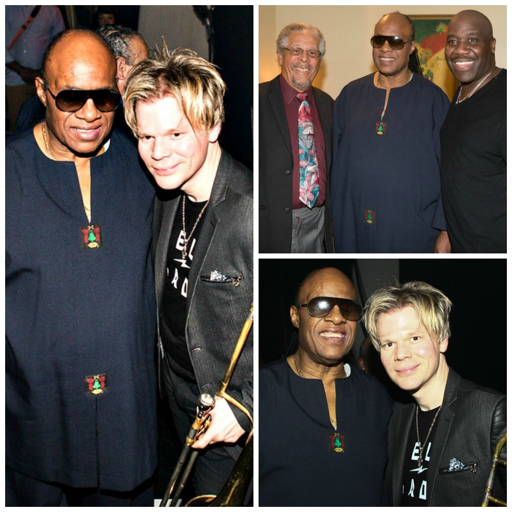 Stevie Wonder, Brian Culbertson, Al Williams (Rainbow Promotions founder) & Will Downing backstage at the Long Beach Terrace Theater on Feb. 14, 2015 (Photo by Ambrosevents.com/Ellis Moore Photography)