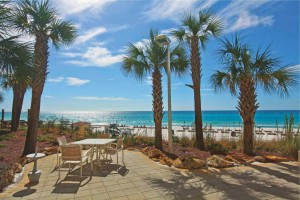 Patio at the oceanfront Calypso Resort and Towers in Panama City Beach, Florida