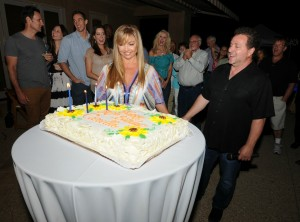 Richard Elliot presents his wife Camella with her 50th birthday cake (Photo by David Hopley)