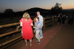 Lori Stoll with Leslie and Scott Pedersen checking out the alpacas and other outdoor animals (Photo by David Hopley)
