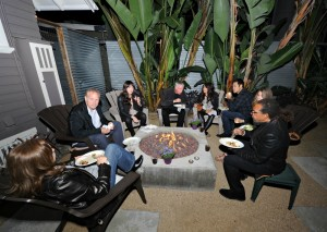 Lance Abair hanging out around the fire pit during his daughter's birthday celebration (photo by David Hopley)
