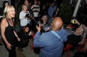 Mindi Abair enjoying Ellis Hall's jam during her birthday party (photo by David Hopley)