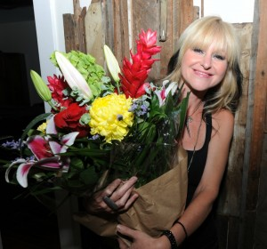 Mindi Abair with her birthday bouquet during her birthday party in Hollywood, CA, on May 23 (photo by David Hopley)