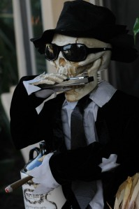 Harmonica-playing, cigar-smoking, beer drinking skeleton (Photo: David Hopley)