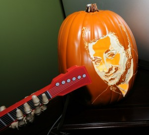 Guitar-playing monster serenading a pumpkin etched with Richard Elliot's face (Photo: David Hopley)