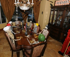 Spooky dinner guests at the Elliot home (Photo: David Hopley)