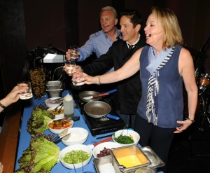 Cary Hardwick, Dave Koz & Laurie Sisneros giving a Greek cooking demo at Spaghettini in Seal Beach, California (photo by David Hopley)