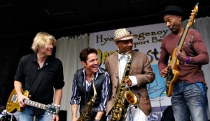 Dave Koz performing with (the late) Jeff Golub, Kirk Whalum & Marcus Miller at the Hyatt Regency Newport Beach Jazz Festival