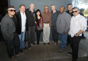 DamonReel, Euge Groove, Art Good, Keiko Matsui, Al Williams, Peter White, Craig Collier, Billy Mondragon & Eric Mondragon on the patio of Spaghettini Seal Beach during the 2015 Smooth Jazz News Anniversary Brunch & Jam Session (photo by David Hopley)