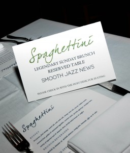 Reserve your table now for Smooth Jazz News' 16th Anniversary Brunch & Jam Session scheduled for Sunday, Feb. 21 at Spaghettini in Seal Beach, CA