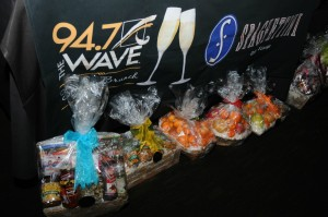 Gift baskets raffled off by 94.7 The WAVE during Sunday brunch at Spaghettini (photo by David Hopley)