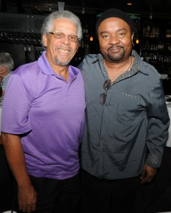 Al Williams (drummer & Rainbow Promotions founder) with guitarist Freddie Fox at Spaghettini (photo by David Hopley)