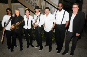 "Andre Berry, David Sanborn, Dave Koz, Randy Jacobs, Frank ""Third"" Richardson & Ramon Yslas backstage before their show at Humphreys Concerts by the Bay in San Diego (Photo by David Hopley)"