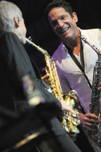 David Sanborn & Dave Koz during sound check before their show at Humphreys Concerts by the Bay (Photo by David Hopley)