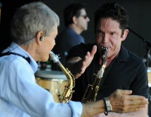 David Sanborn & Dave Koz perfecting their sound before their San Diego performance (Photo by David Hopley)